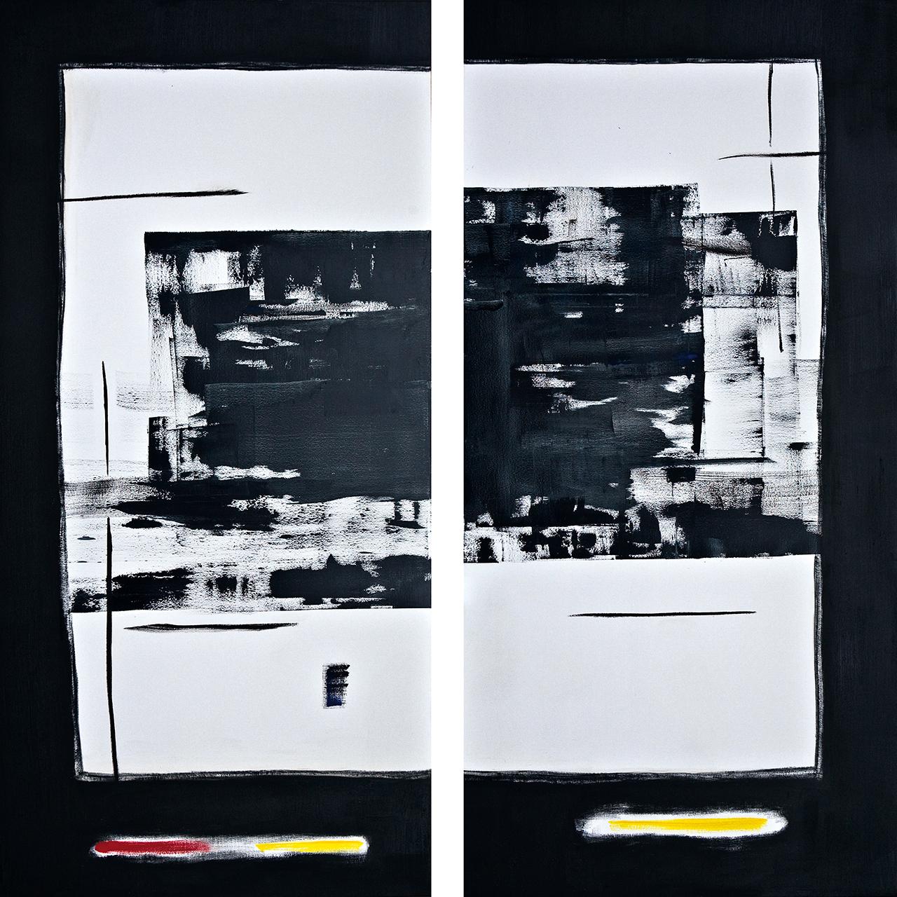 Post Nuclear Winterscenario no.1 (2015) olieverf op linnen (2 luik) 300 x 300cm